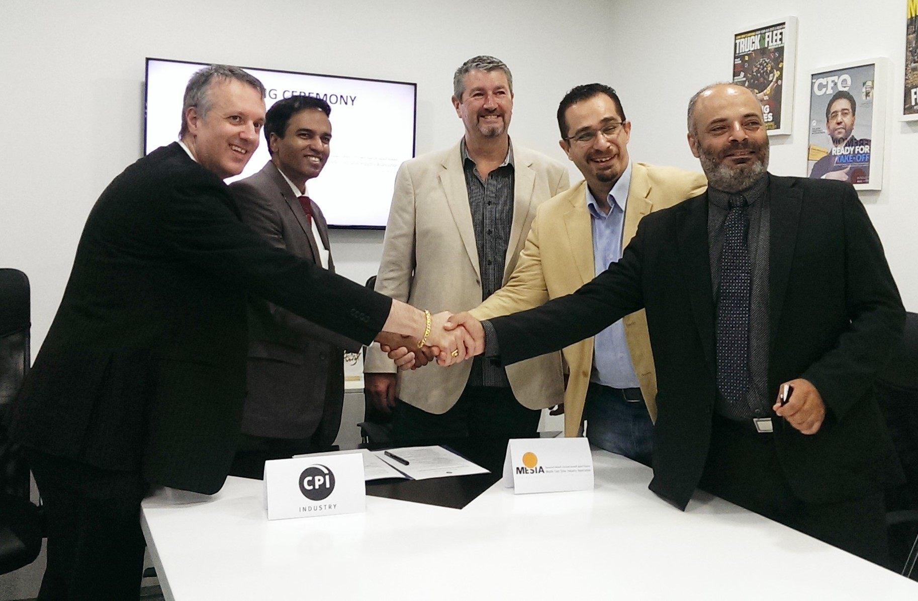 L-R: Frederic Paille, Managing Director, CPI Industry; B Surendar, Editorial Director, CPI Industry; James Stewart, Vice President, MESIA; Hadi Tahboub, President, MESIA and Dr. Toufic Hawat, Research Director, MESIA.