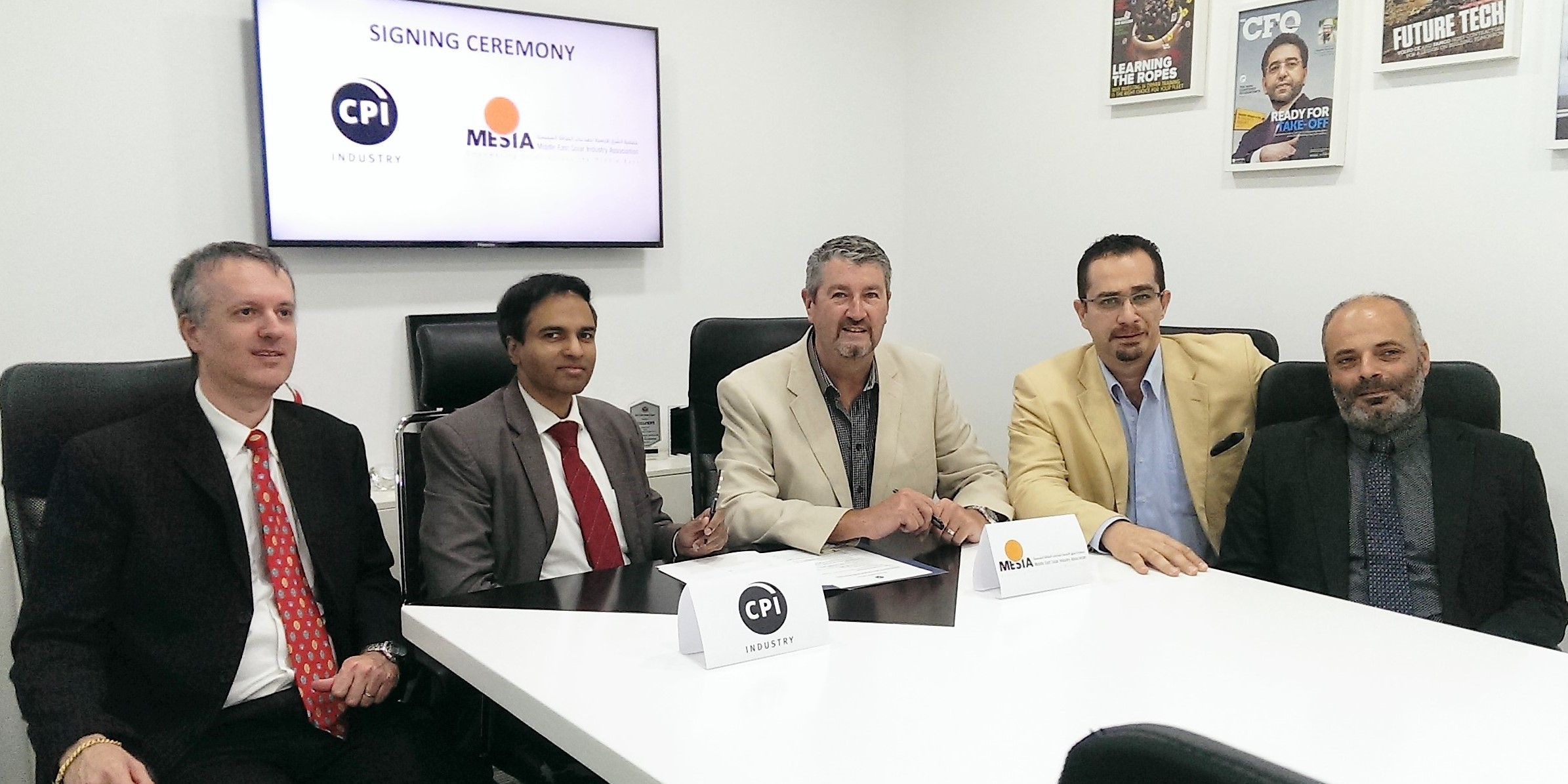 L-R: Frederic Paille, Managing Director, CPI Industry; B Surendar, Editorial Director, CPI Industry; James Stewart, Vice-President, MESIA; Hadi Tahboub, President, MESIA and Dr. Toufic Hawat, Research Director, MESIA