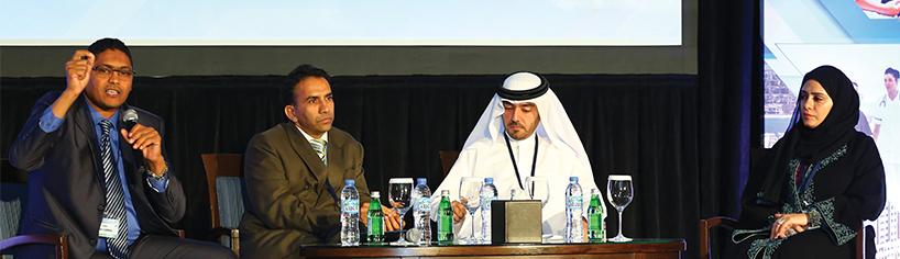 L-R: Dr Esam Elsarrag, P.R. Jagannathan, Jasim Mohamed Al Ali, Anwaar Al Shimmari