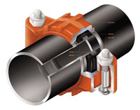 Coupling housings engage the groove and encase a pressure responsive gasket that creates a seal unified joint.