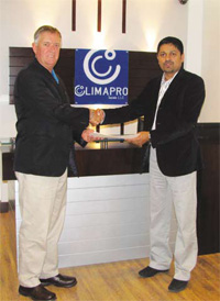 Forming a new alliance: Sabu C Abraham, Managing Director, ClimaGulf (right) and Kym Garrick, Export Manager, Asia, Middle East and South America of Seeley International