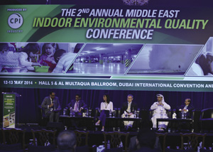 IEQ in Commercial Buildings | L-R: Salah Nezar, Qatar Project Management; Abdullah Gallioun, IFA Hotels and Resorts; Annelies Hodge, Dubai Chamber of Commerce and Industry; Robert Boldi, Zayed University; Abdulhadi Alalyak, du and Member of the Board of the Middle East Facilities Management Association and Ashroff Shakoor, Grand Hyatt Dubai