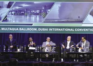 Second Panel discussion | (L-R) Michael Hoy MBIFM, Facilities Management Consultant; Dr M Ramaswamy, Royal Estates, Sultanate of Oman; Iqtedar Ali Bangash, Canadian Specialist Hospital; Dr Iyad Al Attar, International Air Filtration Consultant; Salah Nezar, Qatar Project Management
