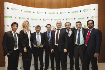 Emicool winning the 'Best Utility Provider in District Cooling' category at the Climate Control Awards 2012