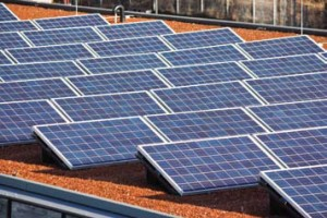 A refurbished house roof with solar energy panels