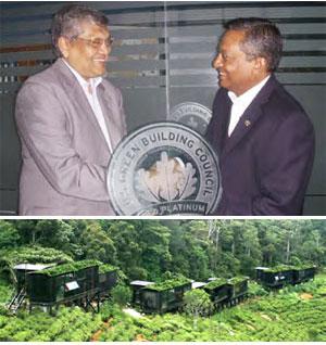 Prema Cooray, Chairman of the Rainforest, Deniyaya, Sri Lanka, receiving the LEED Platinum Award for Ecotourism from Mario Seneviratne, LEED Fellow, Managing Director, Green Technologies, Dubai (Inset: The Rainforest, Deniyaya, Sri Lanka)