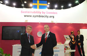 Hannes Carl Borg, State Secretary, Ministry of Enterprise, Energy and Communication, Sweden, with Mr Max Bjuhr, Sweden's Ambassador to the UAE, Qatar and Bahrain at the Swedish pavilion during WFES