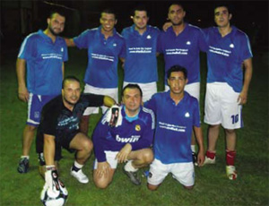 Adib with his mates in the Emicool football team