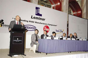 Navin Valrani makes a point during his opening speech. To his left are the representatives from Casals, Weicco and Rheem